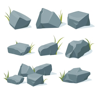 Uma coleção de pedras da montanha de várias formas.