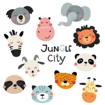 Uma coleção de pequenos rostos de animais fofos