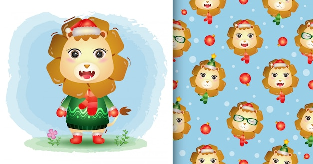 Uma coleção de personagens de natal de leão fofo com um chapéu, jaqueta e lenço. padrão sem emenda e desenhos de ilustração