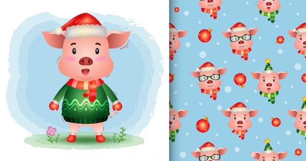 Uma coleção de personagens de natal de porco fofo com um chapéu, jaqueta e lenço. padrão sem emenda e desenhos de ilustração