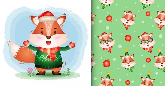 Uma coleção de personagens de natal de raposa fofa com um chapéu, jaqueta e lenço. padrão sem emenda e desenhos de ilustração
