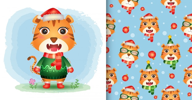 Uma coleção de personagens de natal de tigre fofinho com um chapéu, jaqueta e lenço. padrão sem emenda e desenhos de ilustração