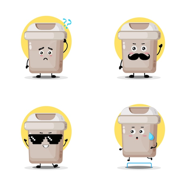 Uma coleção de personagens fofinhos de lata de lixo