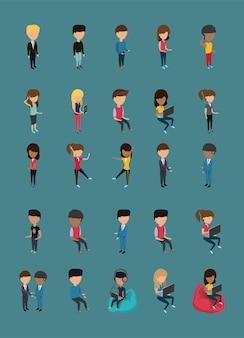 Uma coleção de pessoas sem rosto