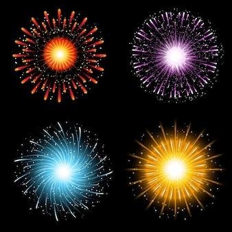 Uma coleção de quatro explosões de fogo de artifício brilhantemente coloridos