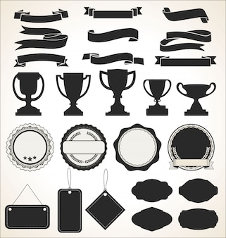 Uma coleção de rótulos e fitas de crachá