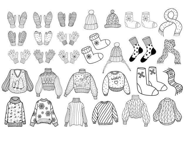 Uma coleção de roupas de inverno de lã tricotada. ilustração vetorial no estilo doodle