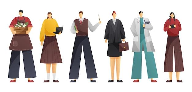 Uma coleção de seis profissões.