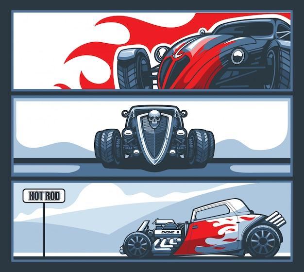 Uma coleção de três banners com carros hot rod na estrada.