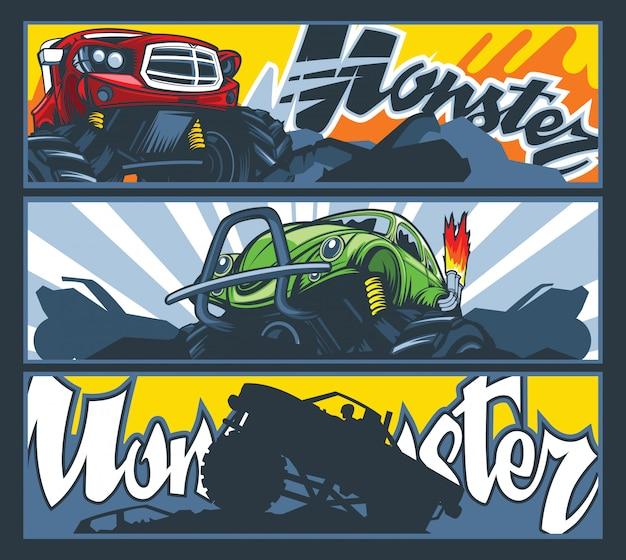 Uma coleção de três banners com carros monster.