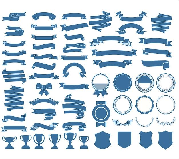 Uma coleção de várias fitas marcando escudos e troféus de louros