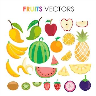 Uma coleção de várias frutas tropicais, como melancia, mangostão, banana, abacaxi, manga, laranja