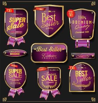Uma coleção de vários emblemas e etiquetas