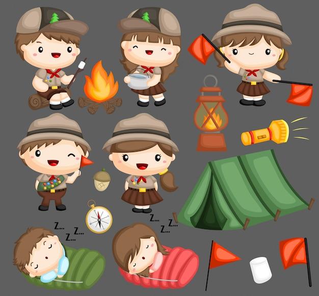 Uma coleção de vetores de escoteiros de menino e menina
