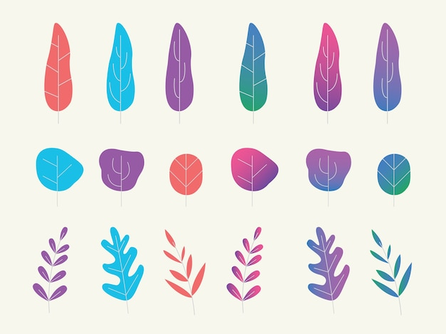 Uma coleção definida de plantações de fantasia ou árvore com estilo gradiente plana