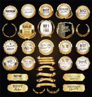 Uma coleção dourada de vários emblemas e etiquetas