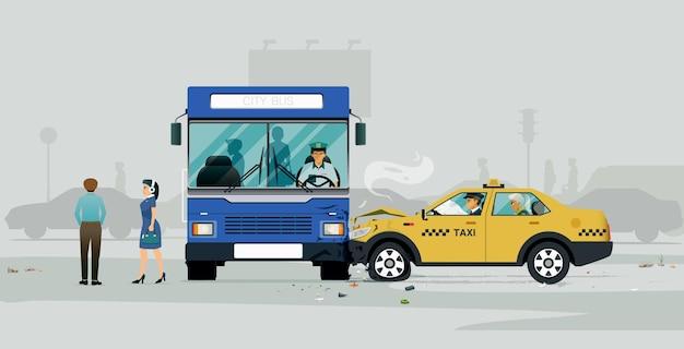 Uma colisão de ônibus com um táxi obrigou os passageiros a descer.
