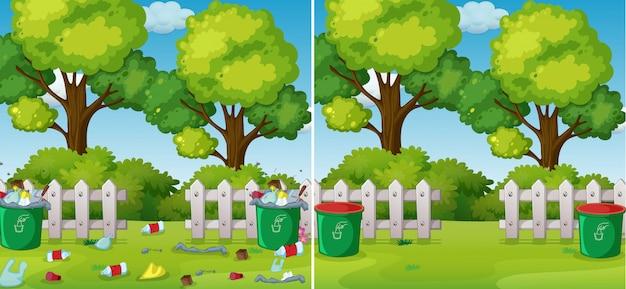 Uma comparação de parque limpo e sujo