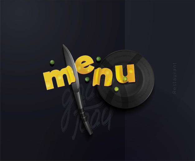 Uma composição de fatias de queijo na forma de letras de uma faca de aço e um prato cartaz moderno para o restaurante menu conceitual para um café-restaurante ilustração em vetor de uma vista de cima