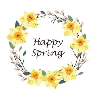 Uma coroa de narcisos e salgueiro com uma saudação de feliz primavera.