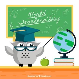 Uma coruja cinza, dia dos professores mundiais