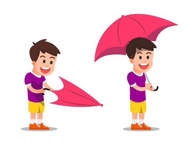 Uma criança abre um guarda-chuva e o coloca