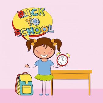 Uma criança de volta à escola com ilustração de elementos de escola