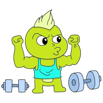 Uma criatura muscular praticando a aptidão de levantar uma barra, desenho de doodle fofo de personagem. ilustração vetorial