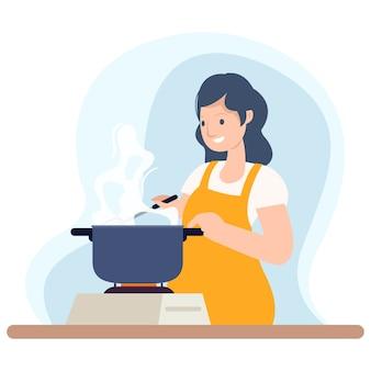 Uma dona de casa está preparando o café da manhã para a família