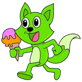 Uma doninha verde caminhando com uma comida de sorvete de cara feliz, doodle desenhar kawaii. ilustração vetorial arte