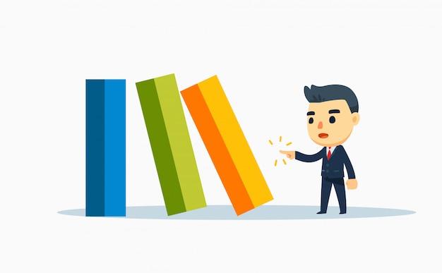 Uma empresa está empurrando a barra de dominó colorida. ilustração vetorial