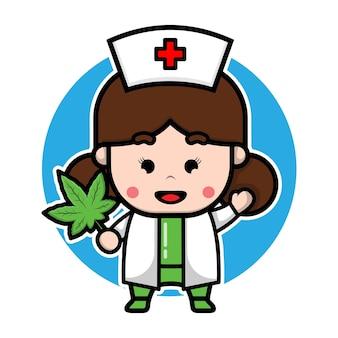 Uma enfermeira bonita segurando um personagem de desenho animado de maconha