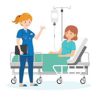 Uma enfermeira cuidando de uma mulher doente
