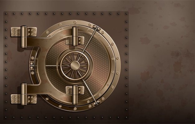 Uma enorme porta de metal redonda e segura. salvamento confiável de segredos e senhas.