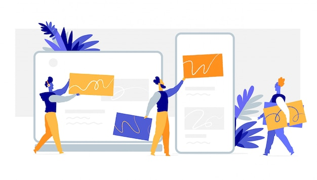 Uma equipe de designers cria gráficos para site, aplicativo móvel, interface do usuário