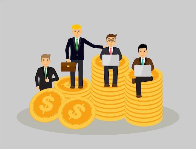 Uma equipe de empresário ganhar dinheiro