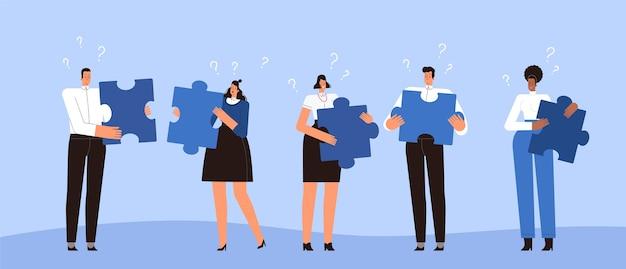 Uma equipe de empresários não consegue conectar quebra-cabeças. o conceito de mau trabalho em equipe, comunicação e amizade. rapazes e moças não se entendem. plano .