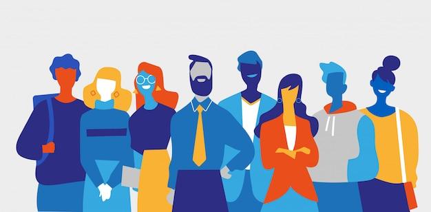Uma equipe de homens e mulheres criativos e bem-sucedidos