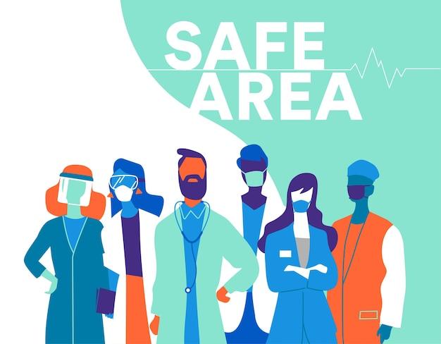 Uma equipe de médicos e enfermeiras usando máscaras