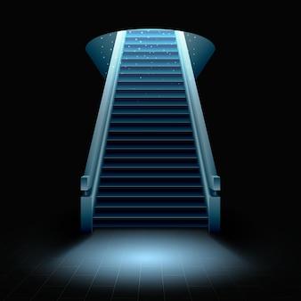Uma escada subindo da escuridão para a luz brilhante.