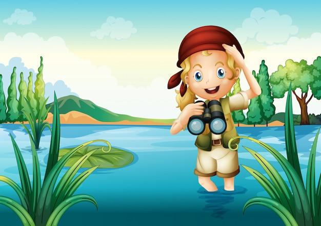 Uma escoteira no lago