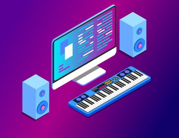 Uma estação de trabalho de composição musical com um monitor de tela grande e teclado musical.