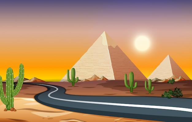 Uma estrada na noite do deserto