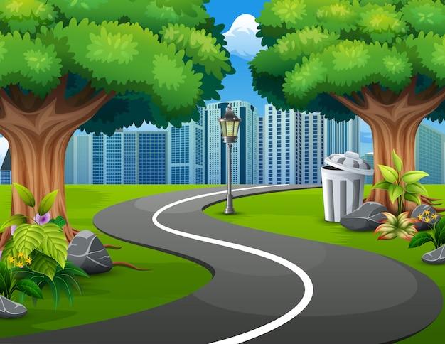 Uma estrada natural vista para a cidade