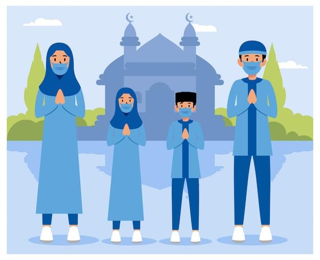 Uma família comemora um dia do ramadã eid mubarak
