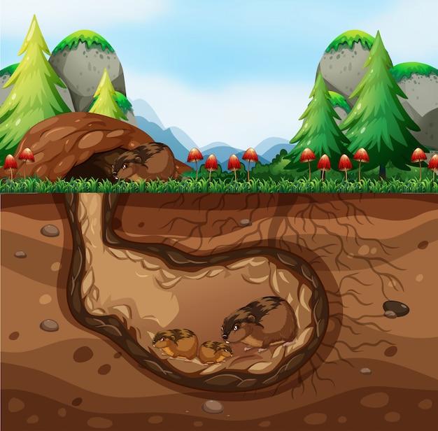 Uma família de cobaias vivendo no subsolo