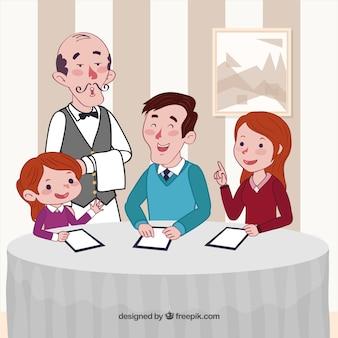 Uma família em um restaurante