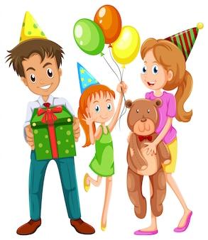 Uma família feliz comemorando um aniversário