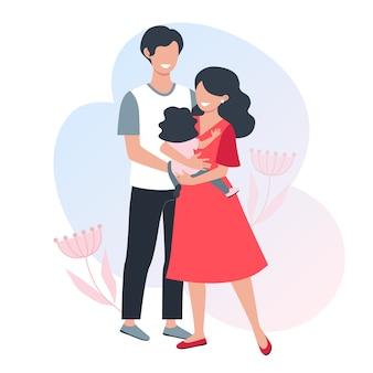 Uma família feliz. pais jovens. mãe segura uma criança pequena nas mãos dela. ilustração