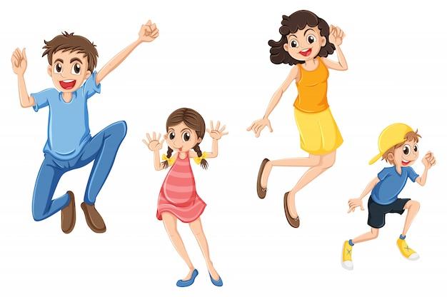 Uma família feliz pulando